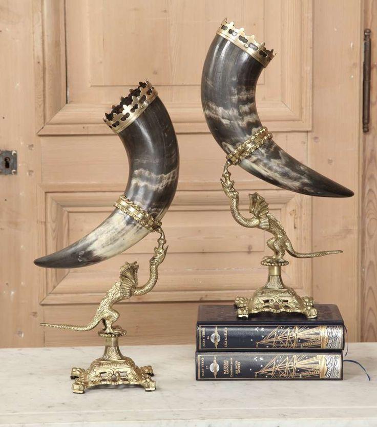 Pair Antique Trophy Horns - Inessa Stewart's Antiques