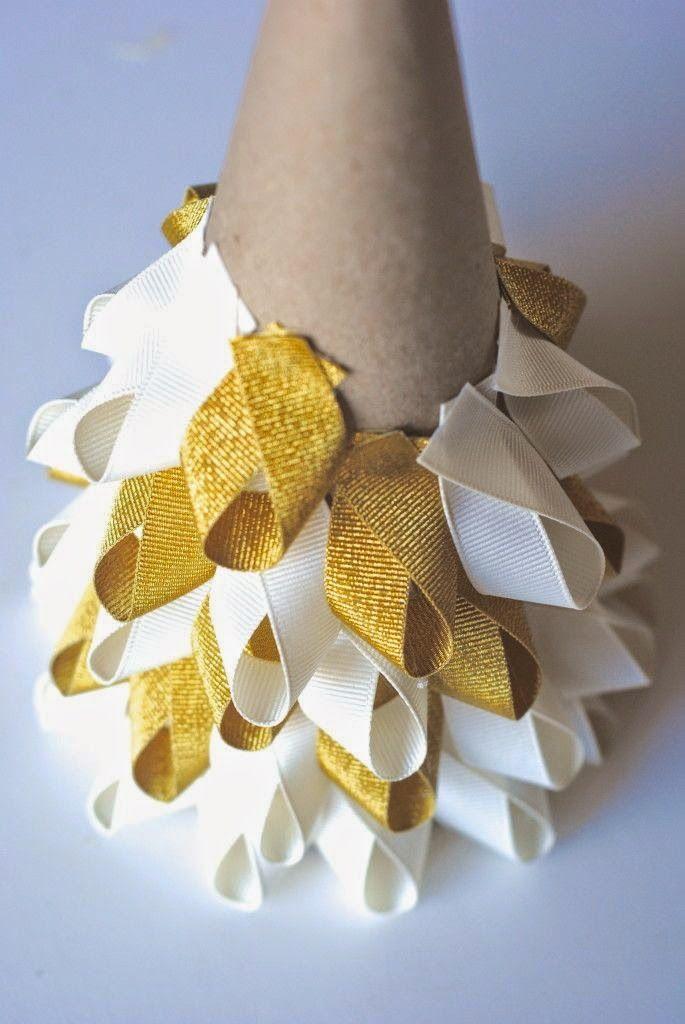 Easy Christmas Craft Ideas: Ribbon Trees.