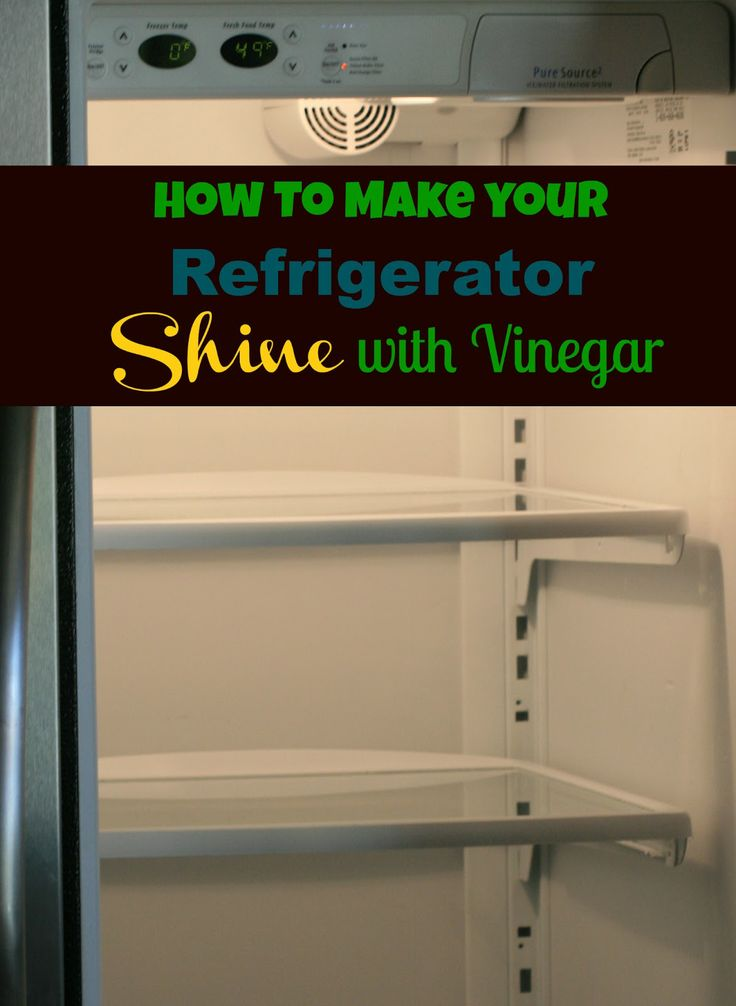 Clean your refrigerator with vinegar.  Vinegar and water are all that are needed to get a perfect shine when cleaning a refrigerator.