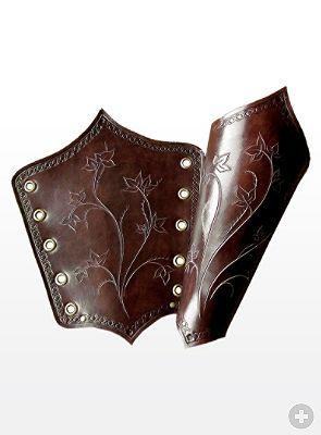 Lady Elf Bracers brown Handcrafted, genuine leather LARP armour.    Or, a good pattern reference for that time when I can destroy a pair of leather boots.