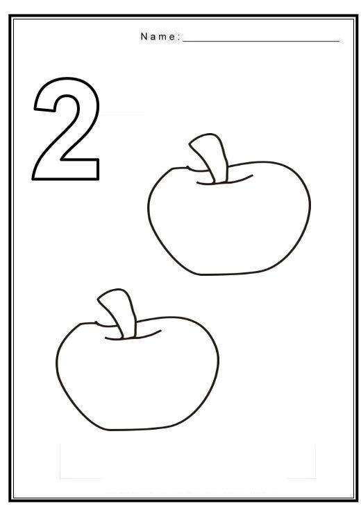 Free coloring pages of number 2 with fruit | matematica ...