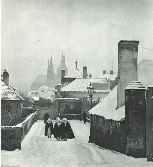 Winter Prague, New World by J.Sazima, mid 30's