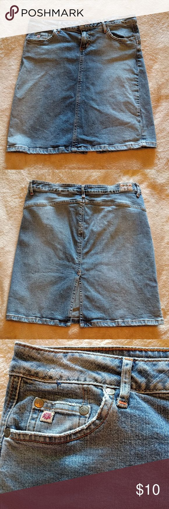 "PARIS BLUES distressed jean skirt Good used condition. Waist 15"" flat, 18"" length. Paris Blues Skirts Midi"