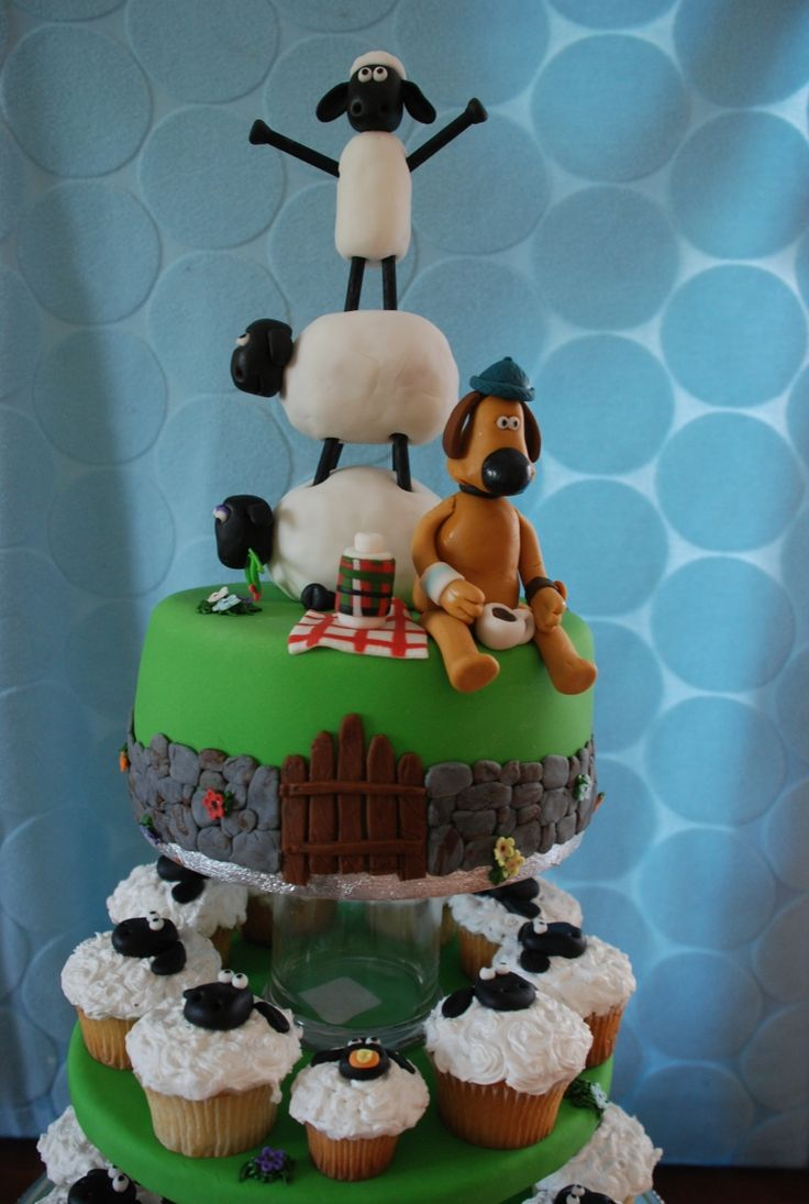 Trying to come up with an idea for a Shaun the Sheep cake for Alice.  This one is close to my vision.