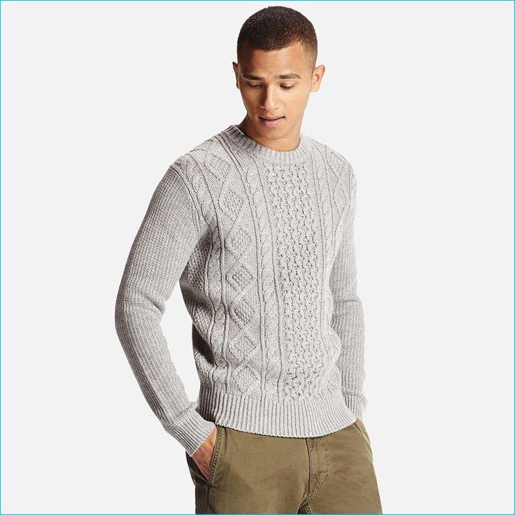 Uniqlo Men's Grey Middle Gauge Cable Crewneck Sweater