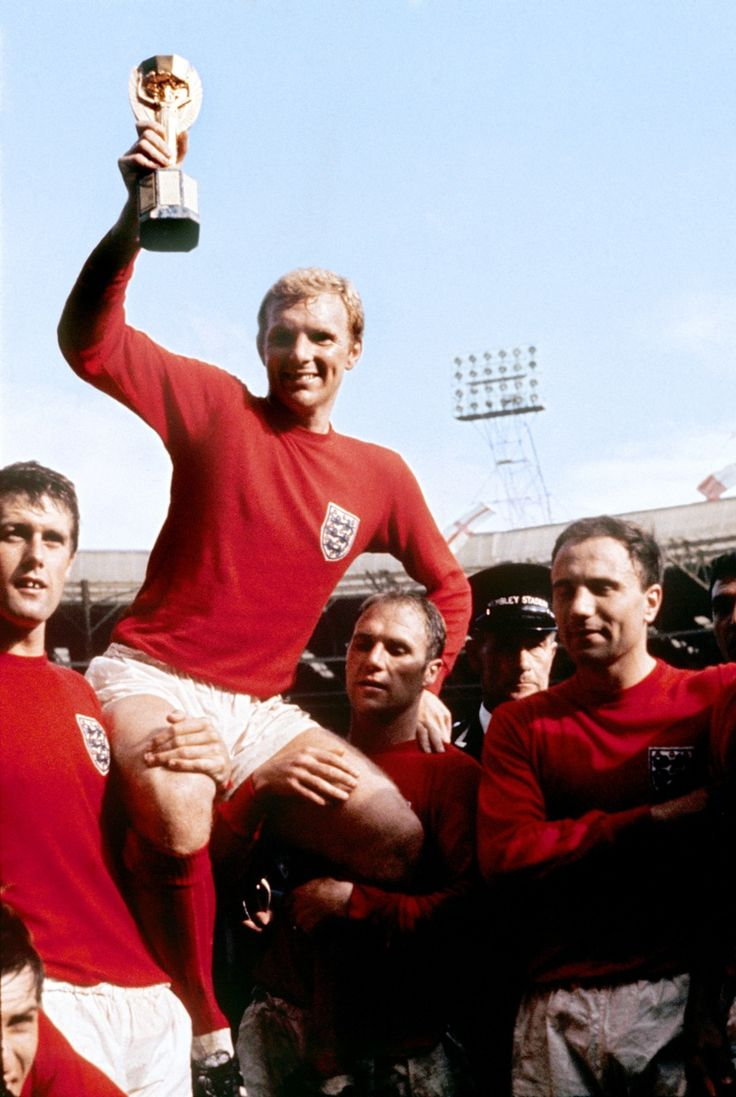 Bobby Moore is chaired by team-mates after winning the 1966 World Cup final.