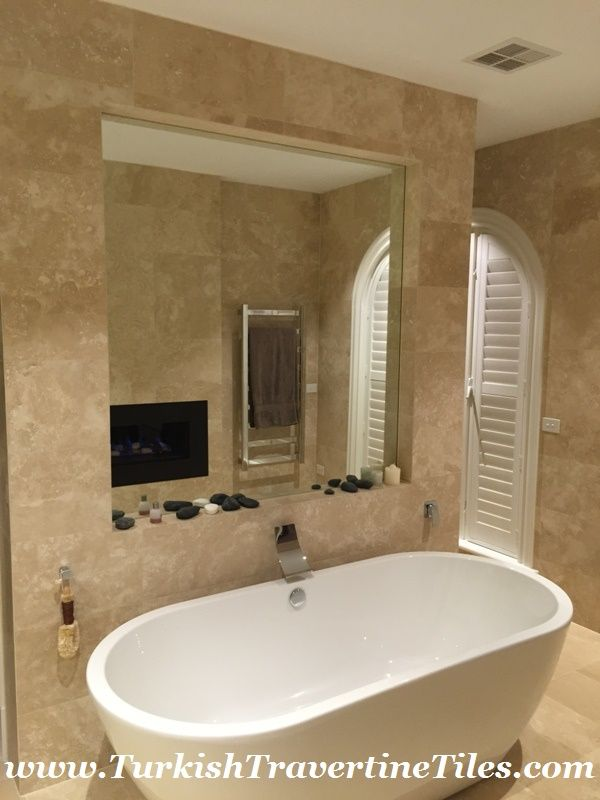 Image Of Filled Travertine Tiles Travertine bathroom