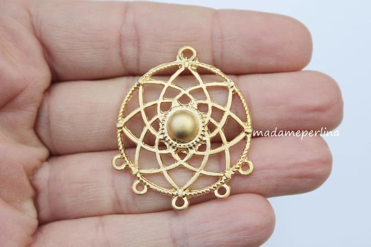 1   pendant connector multi loops bail hoops matte gold plated multiple dream catcher turkish jewelry supplies mdla367 by madameperlina on Etsy