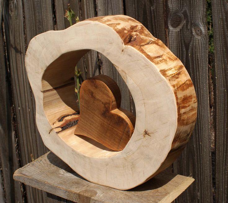 Skulpturen – Holzskulptur XL mit Holzherz, Muttert…