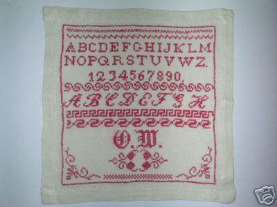 Antique Redwork Sampler O.W UnDated