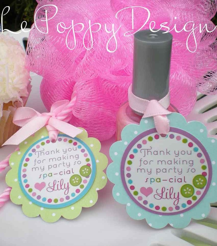 Spa Birthday Party Decorations - Favor Thank You Tags. $12.00, via Etsy. Partyonpurpose