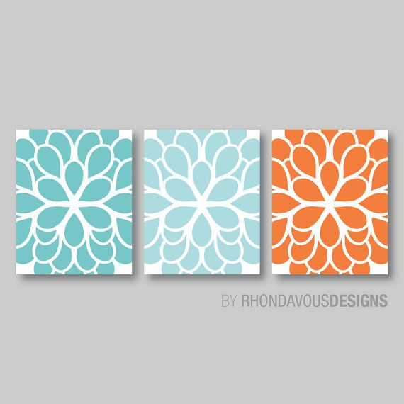 Teal Aqua Orange Dahlia Flower Print Trio   Home Petals Bloom Wall Art  Bedroom Nursery Bathroom Decor.   You Pick The Size U0026 Colors (NS 276)