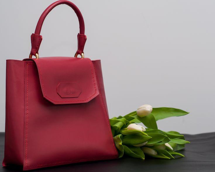 Soft rose handmade leather bag