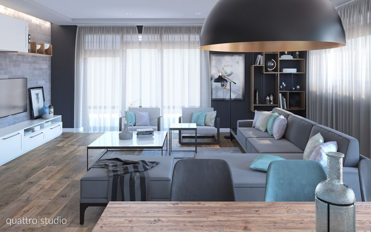 Classic living room with modern elements. Grey walls, wooden floorings, metal-wood book shelf.