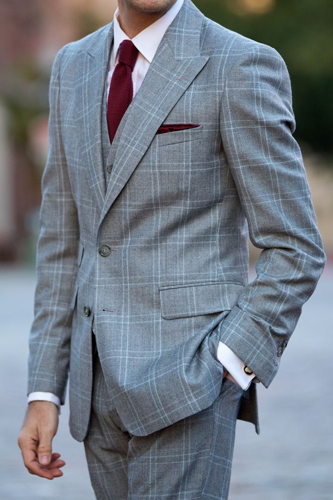 Grey Plaid Three Piece Suit - He Spoke Style