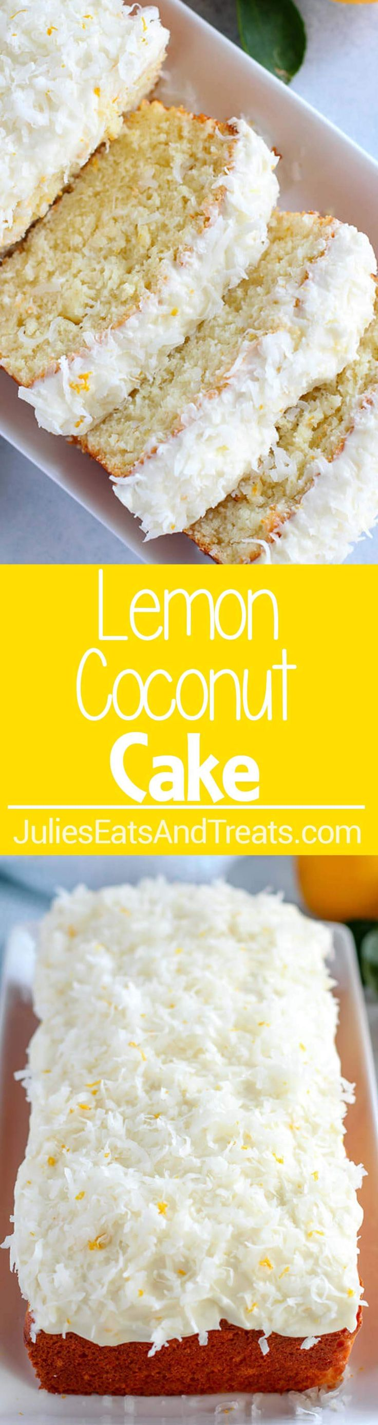 Lemon Coconut Cake ~ Moist, Flavorful Homemade Cake Topped with Lemon and Coconut Cream Cheese Frosting!  via @julieseats