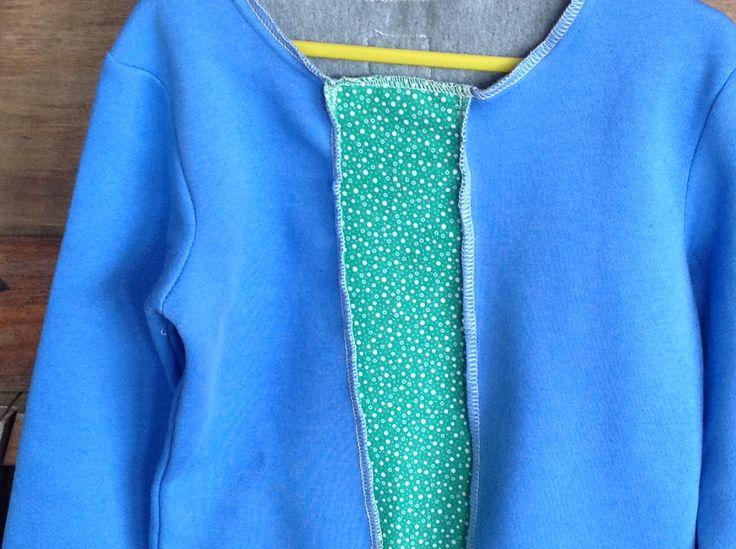 Refashioned sky blue sloppy joe with upcycled fabric insert