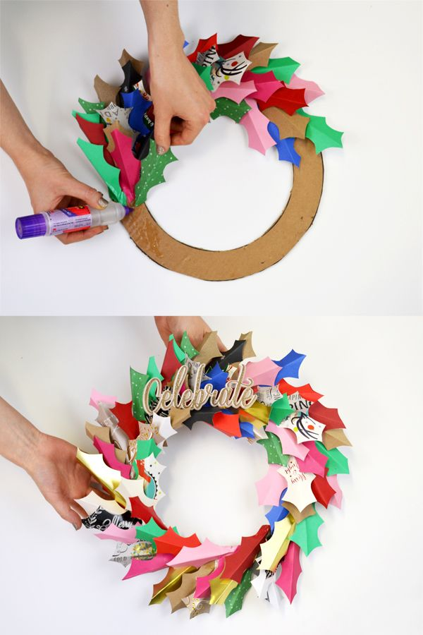 Pinterest Christmas Crafts Ideas Part - 40: Upcycled Greetings Cards Ideas: DIY Christmas Or Celebratory Wreath