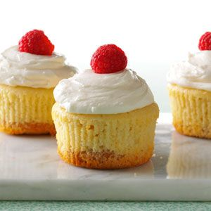 Key Lime Pie Cupcakes Recipe -I bake over 200 of these cupcakes for our church suppers, and we always run out. If you can't find Key lime juice, use lime juice. Just add a tad more sugar. —Julie Herrera-Lemler, Rochester, Minnesota