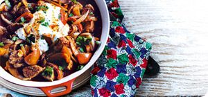Peppers, onions and paprika add sweetness to the pork in this Spanish-style dish, while the fromage frais adds a lovely creaminess: it's the perfect dish for keeping the cold nights at bay.
