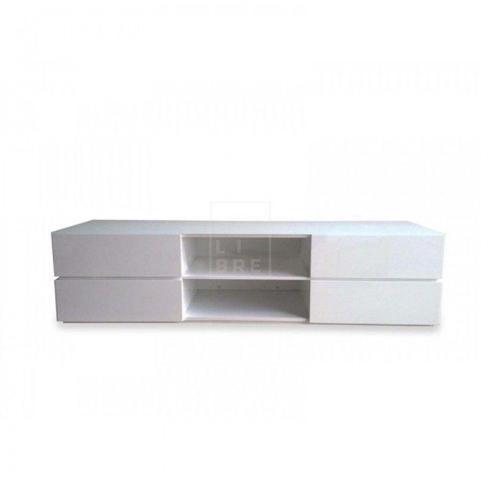 Mezzi TV Entertainment Unit - Lowline - High Gloss White