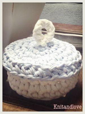 Knit and Love : TUTORIAL CESTO REDONDO CON TAPA DE TRAPILLO