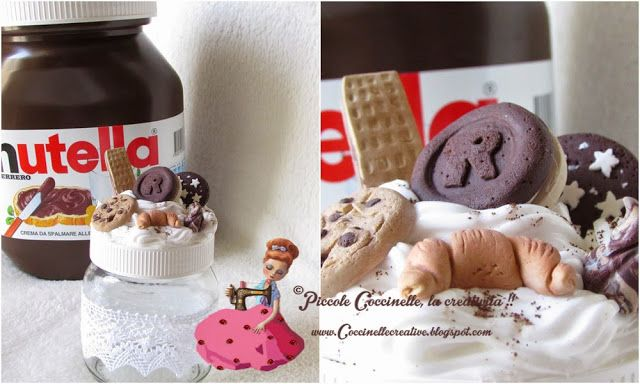 Barattolo Nutella abbellito con dolcetti in fimo e panna in silicone, venite a scoprire le curiosità e la tecnica, solo su http://coccinellecreative.blogspot.it/2015/05/barattolo-nutella-abbellito-con.html Nutella jar adorned with candy polymer clay and silicone cream, come and discover the curiosity and technique, only on http://coccinellecreative.blogspot.it/2015/05/barattolo-nutella-abbellito-con.html