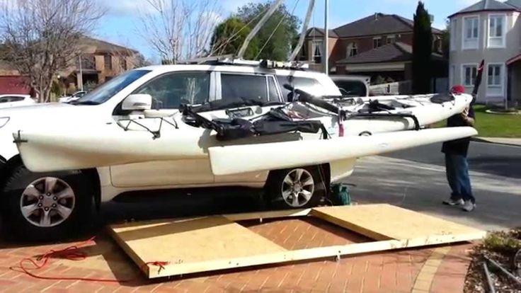 Kayak Hobie Tandem Island Hoist - Car Roof to Garage Ceiling in under 8 ...