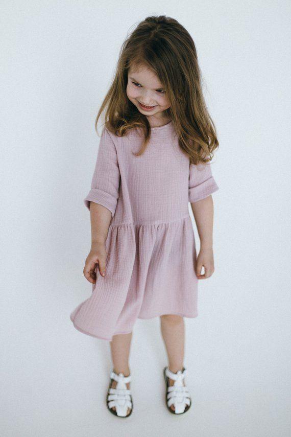 Cotton Dress . Muslin Dress Baby Girl Dress Double Gauze tunic