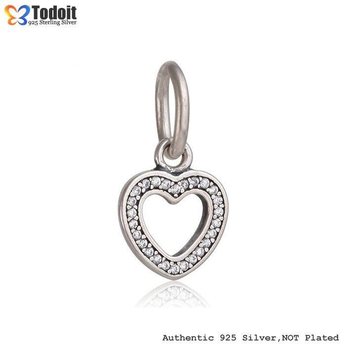 925 Sterling Silver Love Heart with Clear CZ Pendant Dangle European Bead Charm Fit Pandora Style Bracelets Necklaces