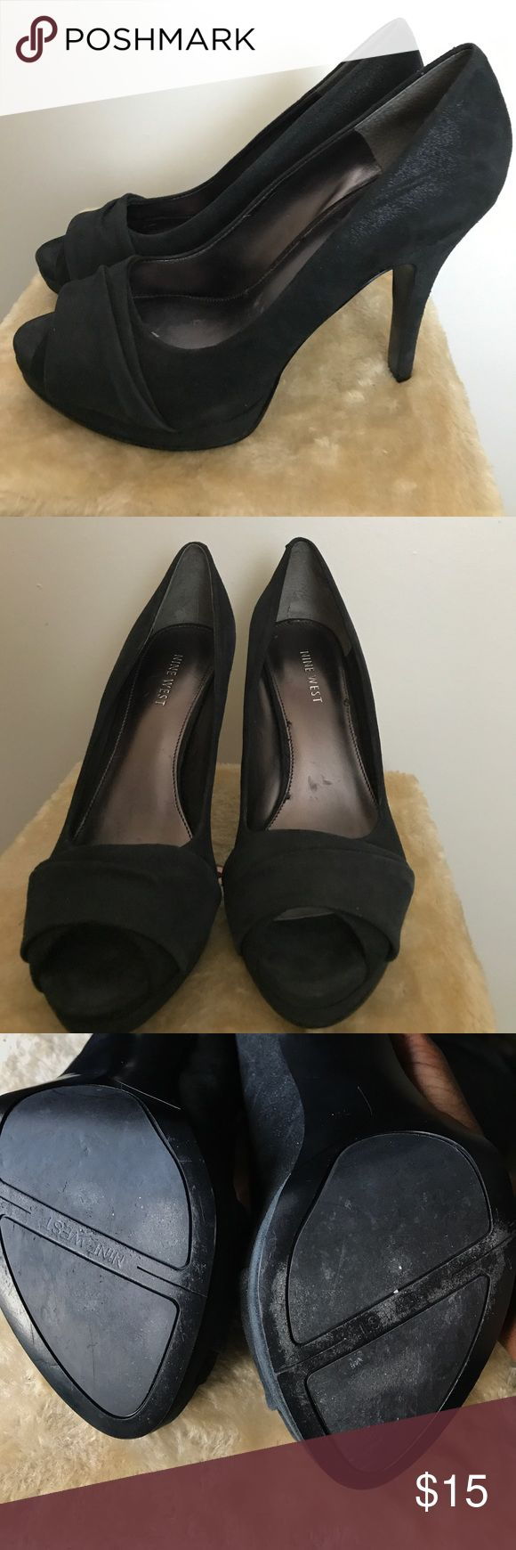 NINE WEST peep toe pump Sight wear and tear ( shown in pictures). Cushion still good condition as well as fabric, bottom of heel and inside ( just inside shoe scratches. Nine West Shoes Heels