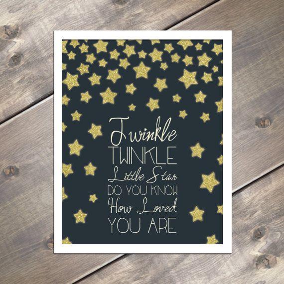 Twinkle Twinkle Little Star Nursery Wall Art, Baby Shower Gift, Gold wall sign, glitter art, nursery ideas, baby girl, baby boy, bedroom, bedtime, stars, navy & gold by EvergreenandWillow, $15.00