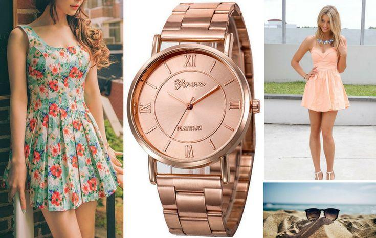 Az idei nyár legnagyobb slágerei a virágmintás ruhák és a pasztell színek lesznek. Ez az ízléses rózsaarany Geneva karóra remekül mutat a világosabb árnyalatokkal és a mintás darabokkal párosítva egyaránt.