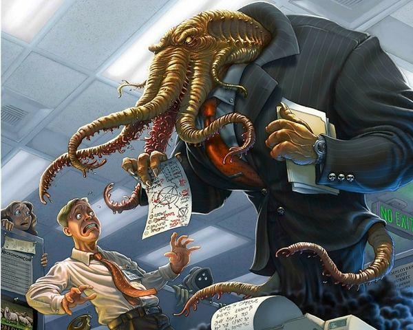 fantasy work humor cthulhu boss office hp lovecraft photomanipulations 1280x1024 wallpaper: