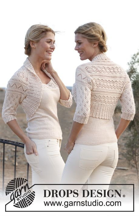 "Knitted DROPS bolero with crochet edge in ""BabyAlpaca Silk"". Size: S - XXXL. ~ DROPS Design"