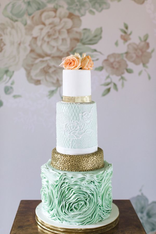 aqua wedding cake, photo by Chantal Lachance-Gibson Photography http://ruffledblog.com/first-look-inspired-scottish-wedding #weddingcake #cakes
