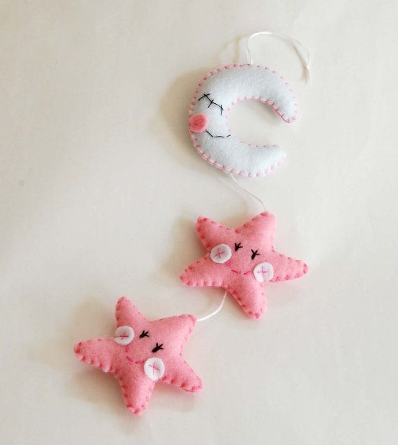 Felt star decoration for birth baby girl crib by federicacreazioni, €20.00