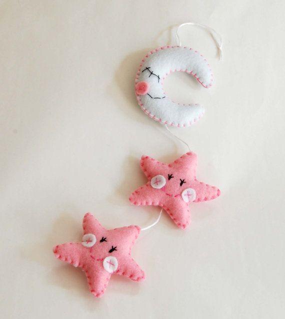 Felt star decoration for birth baby girl crib by federicacreazioni, €20.00