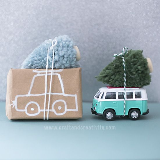 Pom pom Christmas trees - by Craft & Creativity