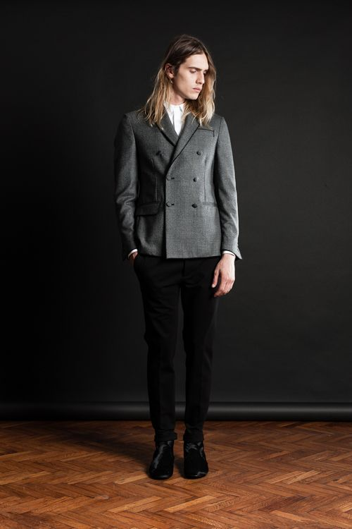 MAISON LVCHINO FW 14/15 Prince of Wales Double Breasted Jacket with our Signature Gros Grain, Black Pants & Black Pony Boots