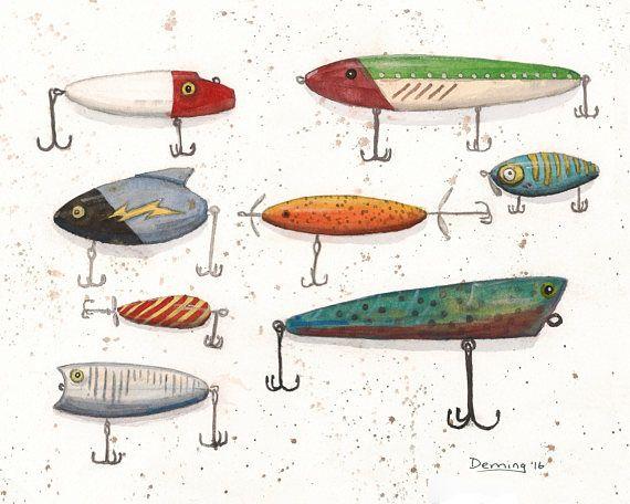 Fishing Lures Print Watercolor Print Fishing Lures Art Print