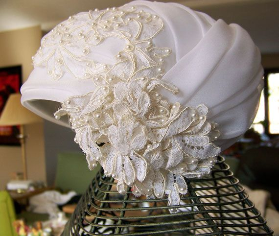 1950s wedding hat turban modernist cloche NOS with original tags  by Miss Lillian for Vogue Bridals in Modern Bride veil