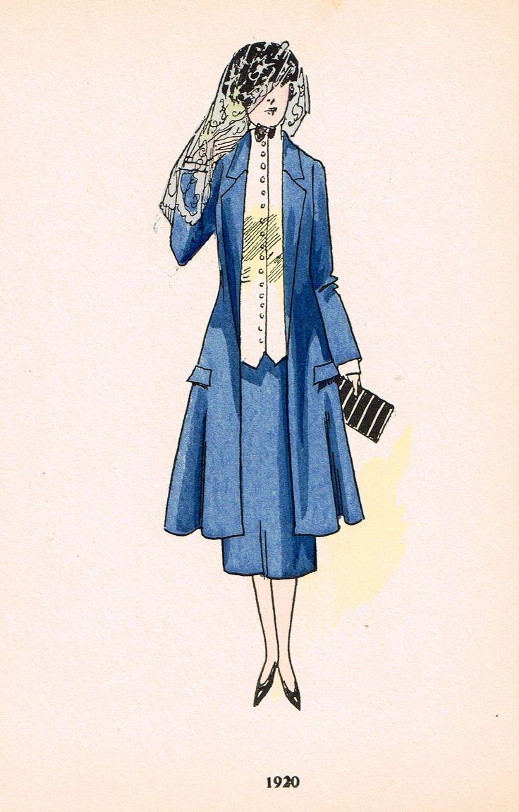 "La Mode Feminine Fashion Plate- """"1920"""" - Chromolithograph - c1920"
