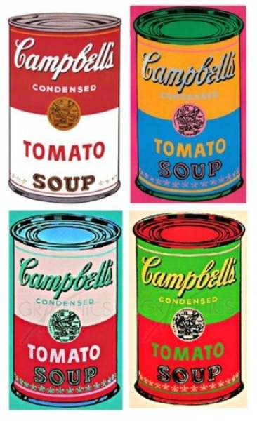 An example of pop art. The most famous pop art artist of the time and today still was Andy Warhol.