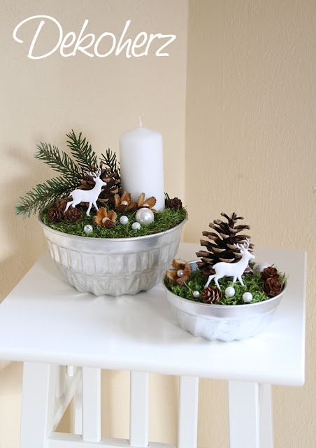 Easy to make WINTER SCENE... Bowl painted silver, add foam or any filler, moss or felt, then beads of other shiny ornaments, cut out deer, candles, pine cones, branches, etc.