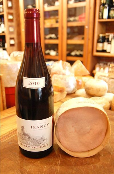 The Cheese Store of Beverly Hills: Weekly Pairing 10/25/2013 Thierry Richoux Irancy 2010 & Vacherin: Irancy is a relatively new AOC, established in 1999 in the Yonne area of Burgundy. Yonne may be a familiar name because it's the area where Chablis is located. Irancy is a red wine appellation that produces racy wine from Pinot Noir grapes with a 10% allowance for a local grape called Cesar. Vacherin One of Switzerland's most prized cheeses. Only available through the fall and winter months.