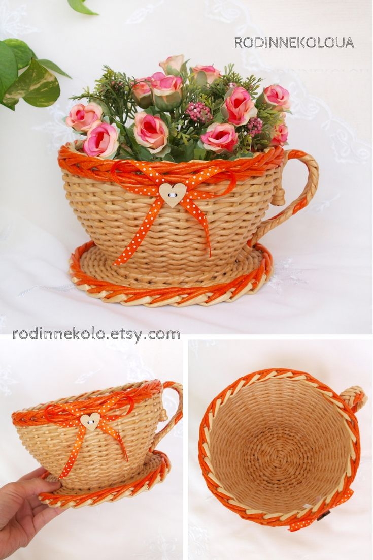 Mothers Day Gift Wicker Cup And Saucer Orange Kitchen Decoration Basket For  Sweets Teacher Gift Tea | Wicker Baskets Hand Made RodinneKoloUA |  Pinterest ...