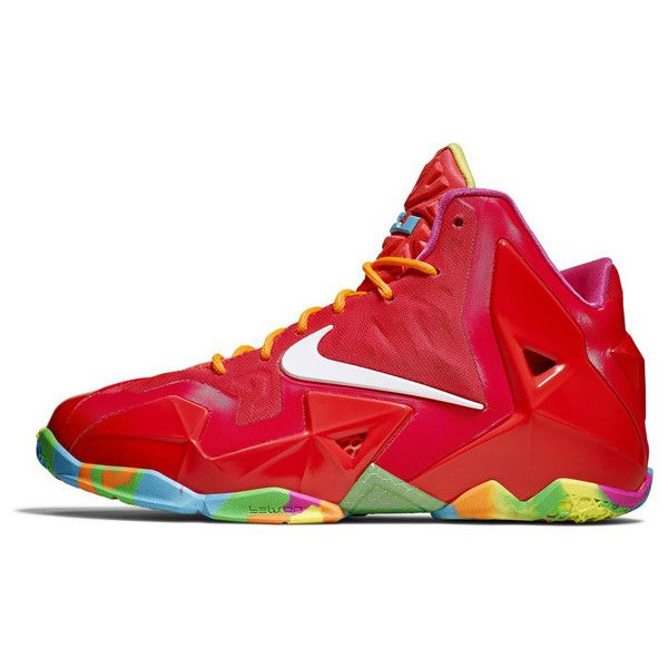 Nike LeBron 11 Fruity Pebbles Official Photos ❤ liked on Polyvore featuring shoes, sneakers, nike, lebron, nike shoes, red shoes, nike footwear and multicolor shoes