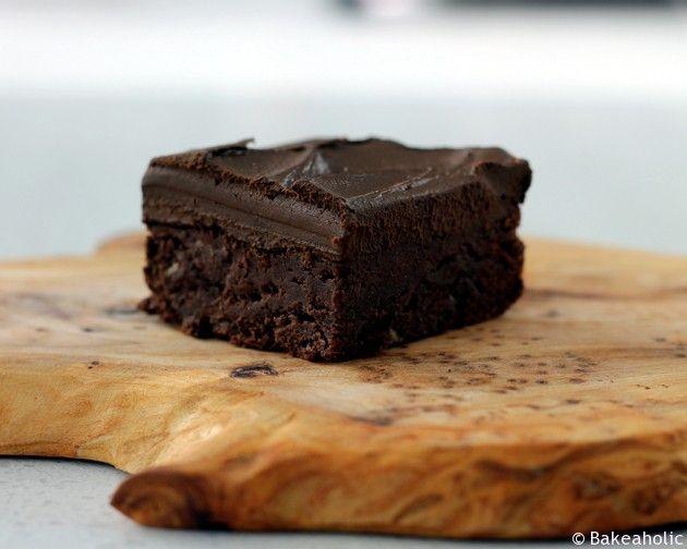 Banana Brownies with Chocolate Avocado Ganache recipe from Alicia T C