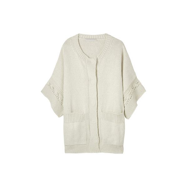 mytheresa.com . what's new . SHORT SLEEVED COTTON XL CARDIGAN ❤ liked on Polyvore featuring tops, cardigans, sweaters, jackets, white, white tops, white short sleeve cardigan, short sleeve cardigan, short sleeve cotton cardigan and white short sleeve top